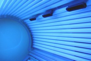 a sunbed that is open but switched on
